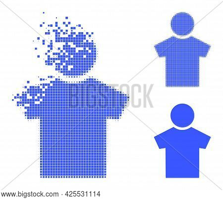 Disappearing Pixelated Boy Glyph With Halftone Version. Vector Destruction Effect For Boy Symbol. Pi