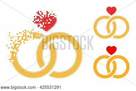 Dissipated Pixelated Wedding Rings Icon With Halftone Version. Vector Wind Effect For Wedding Rings