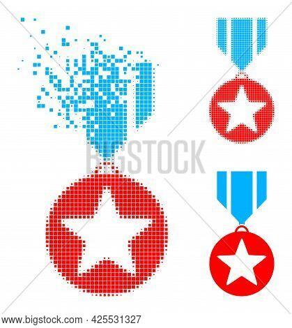 Burst Dotted Star Medal Glyph With Halftone Version. Vector Destruction Effect For Star Medal Pictog