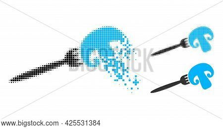 Dust Pixelated Champignon Fork Pictogram With Halftone Version. Vector Destruction Effect For Champi