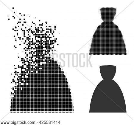 Disintegrating Dotted Female Dress Pictogram With Halftone Version. Vector Wind Effect For Female Dr