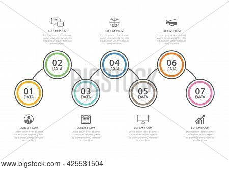 7 Data Infographics Tab Thin Line Index Template. Vector Illustration Abstract Background. Can Be Us