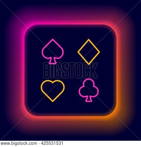 Glowing Neon Line Deck Of Playing Cards Icon Isolated On Black Background. Casino Gambling. Colorful