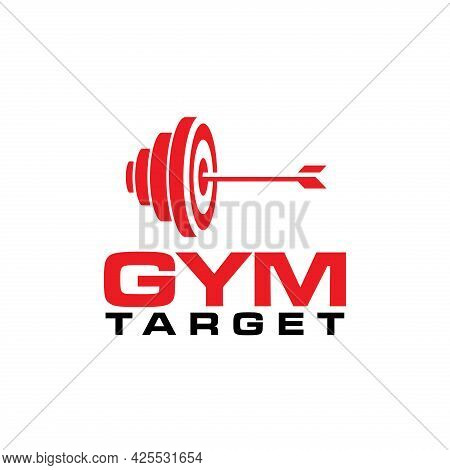 Unique Gym Logo With Barbell And Bullseye Icon