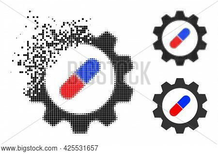 Decomposed Pixelated Pharma Industry Glyph With Halftone Version. Vector Wind Effect For Pharma Indu