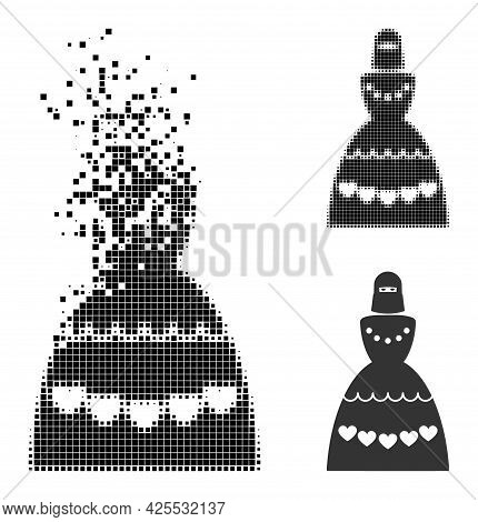 Dispersed Dotted Muslim Bride Icon With Halftone Version. Vector Destruction Effect For Muslim Bride