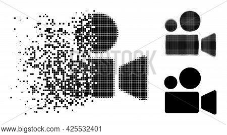 Erosion Dotted Cinema Camera Icon With Halftone Version. Vector Destruction Effect For Cinema Camera