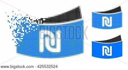 Dissipated Pixelated Shekel Banknote Pictogram With Halftone Version. Vector Destruction Effect For