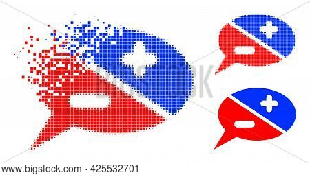 Decomposed Pixelated Chat Arguments Pictogram With Halftone Version. Vector Destruction Effect For C