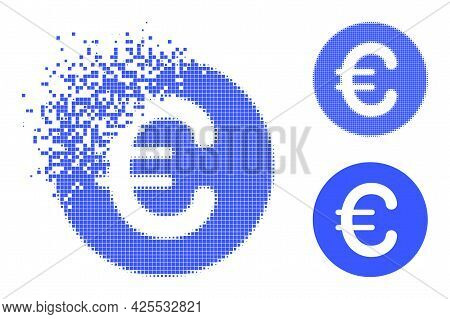 Dissipated Pixelated Rounded Euro Pictogram With Halftone Version. Vector Wind Effect For Rounded Eu