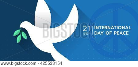 International Day Of Peace The White Peace Dove Sign On Blue Background With Dot And Peace Circle Sy