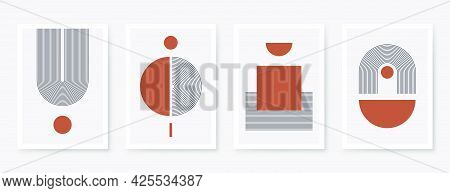 Abstract Art Poster With Geometric Shapes, Lines And Organic Composition. Scandinavian And Boho Styl