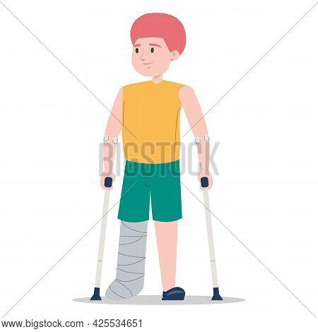 Boy On Crutches With A Broken Leg