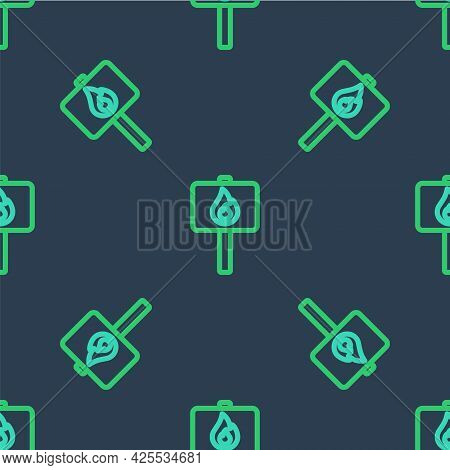 Line Protest Icon Isolated Seamless Pattern On Blue Background. Meeting, Protester, Picket, Speech,