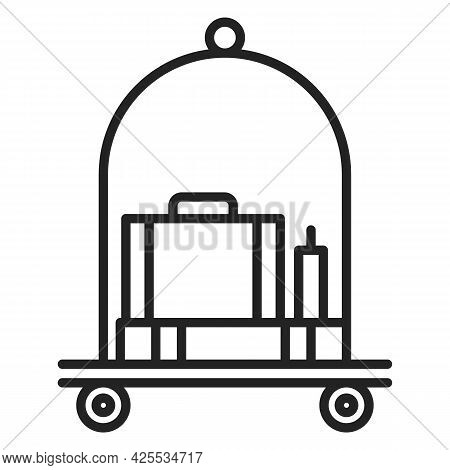 Baggage On Trolley Isolated. Symbol Of Suitcase