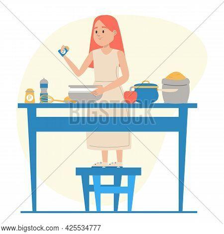 Kid Is Standing And Preparing A Breakfast