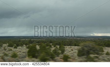 Road Trip From Grand Canyon, Arizona Usa. Driving Auto, Route To Las Vegas, Nevada. Hitchhiking Trav