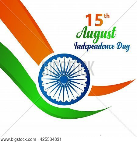Indian Independence Day Concept Background With Ashoka Wheel. 15th August India Happy Independence D