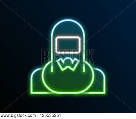 Glowing Neon Line Nuclear Power Plant Worker Wearing Protective Clothing Icon Isolated On Black Back