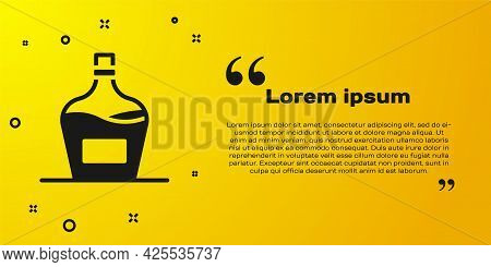 Black Old Bottle Of Wine Icon Isolated On Yellow Background. Bottle Of Homemade Wine. Vector
