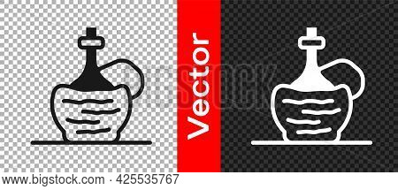 Black Wine In Italian Fiasco Bottle Icon Isolated On Transparent Background. Wine Bottle In A Rattan