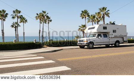 Motorhome Trailer Or Caravan For Road Trip. Waterfront Tropical Palm Trees And Pacific Ocean Beach,