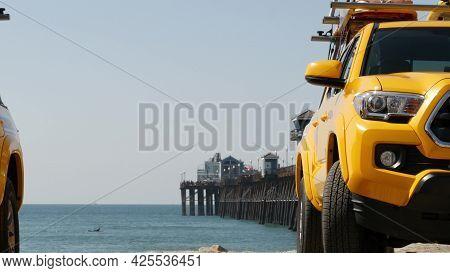 Yellow Lifeguard Car, Oceanside Beach, California Usa. Coastline Rescue Life Guard Pick Up Truck, Li