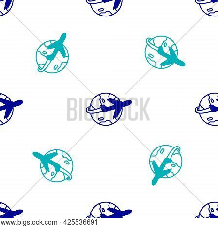 Blue Globe With Flying Plane Icon Isolated Seamless Pattern On White Background. Airplane Fly Around