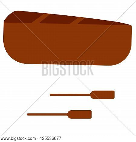 Vector Illustration Of Rowing Boat Isolated On White Background. Wooden Boat With Paddles In Cartoon
