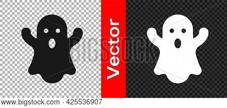 Black Ghost Icon Isolated On Transparent Background. Happy Halloween Party. Vector