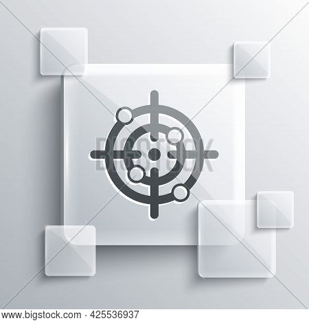 Grey Target Sport Icon Isolated On Grey Background. Clean Target With Numbers For Shooting Range Or