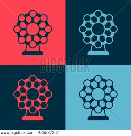 Pop Art Ferris Wheel Icon Isolated On Color Background. Amusement Park. Childrens Entertainment Play
