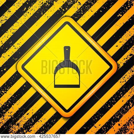 Black Dustpan Icon Isolated On Yellow Background. Cleaning Scoop Services. Warning Sign. Vector