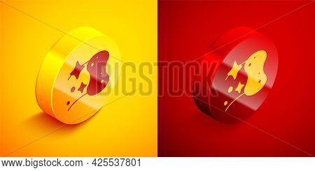 Isometric Sponge Icon Isolated On Orange And Red Background. Wisp Of Bast For Washing Dishes. Cleani