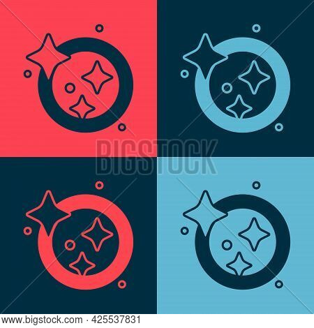 Pop Art Washing Dishes Icon Isolated On Color Background. Cleaning Dishes Icon. Dishwasher Sign. Cle