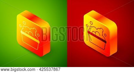 Isometric Plastic Basin With Soap Suds Icon Isolated On Green And Red Background. Bowl With Water. W