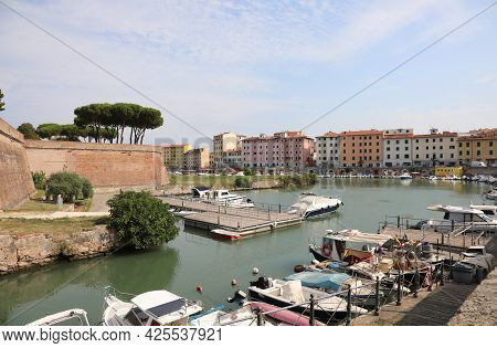 Livorno City In Tuscany Region In Italy And The Boats In The Small Harbor