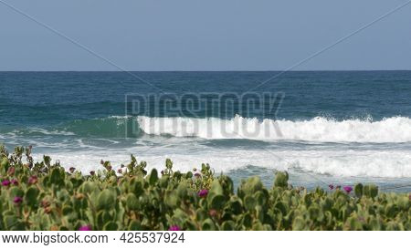 Blue Turquoise Water Surf, Big Tide Waves On Sunny Beach, Encinitas California Usa. Pacific Ocean Co