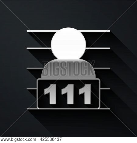 Silver Suspect Criminal Icon Isolated On Black Background. The Criminal In Prison, Suspected Near Th