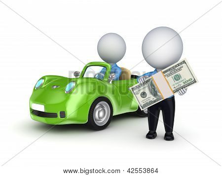3d small person with a green car.