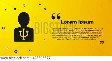 Black Psychology Icon Isolated On Yellow Background. Psi Symbol. Mental Health Concept, Psychoanalys