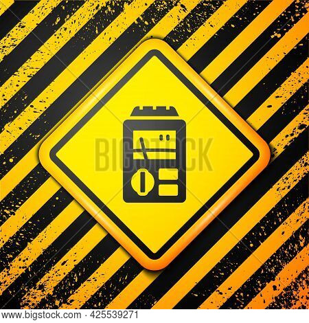 Black Dosimeter For Measuring Radiation Icon Isolated On Yellow Background. Gamma Radiation Personal