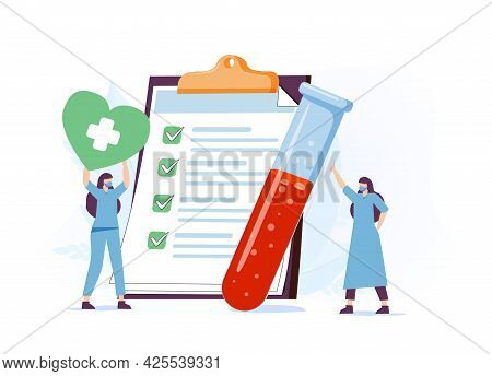 Doctor Scientist In Medical Laboratory Analyzing Blood Samples. Blood Test And Laboratory Research C