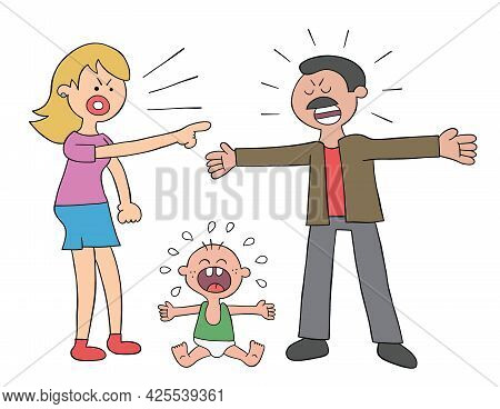 Cartoon Parents Fighting And Baby Crying, Vector Illustration. Colored And Black Outlines.