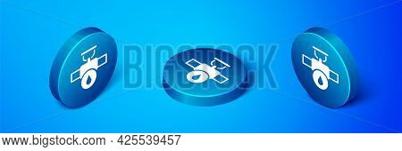 Isometric Industry Metallic Pipe And Valve Icon Isolated On Blue Background. Blue Circle Button. Vec