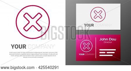 Logotype Line X Mark, Cross In Circle Icon Isolated On White Background. Check Cross Mark Icon. Logo