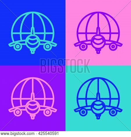 Pop Art Line Globe With Flying Plane Icon Isolated On Color Background. Airplane Fly Around The Plan