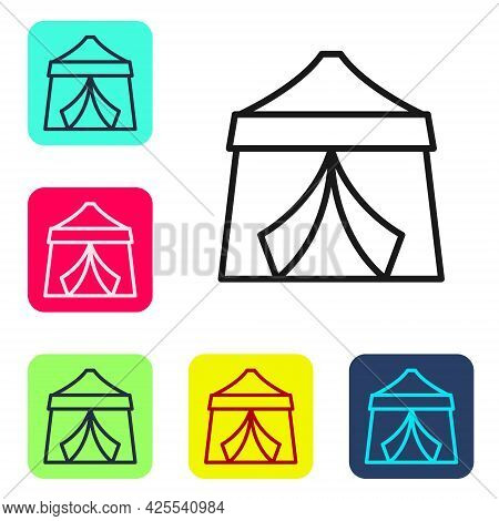 Black Line Circus Tent Icon Isolated On White Background. Carnival Camping Tent. Amusement Park. Set