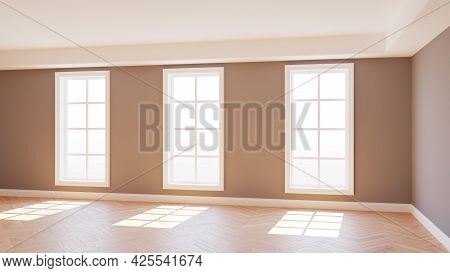Beautiful Empty Sunlit Interior With Three Large Windows, Light Parquet Floor And A White Plinth Wit