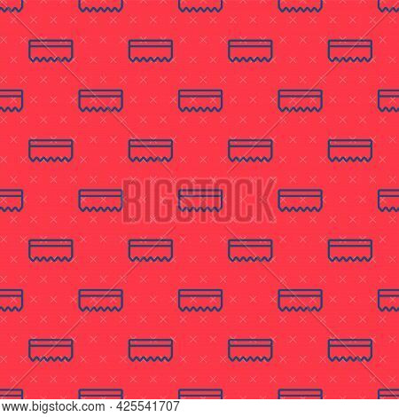 Blue Line Sponge Icon Isolated Seamless Pattern On Red Background. Wisp Of Bast For Washing Dishes.
